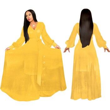 2019 new African Women clothing Dashiki Fashionable solid color chiffon v-neck long sleeve dress size S-XXL  SMR428 цена 2017
