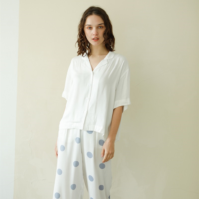 Summer Casual 100% Viscose Women's White Short Sleeve Pajama Sets Blue Dot Ankle-Length Pants Loose Comfortable Sleepwear Suits
