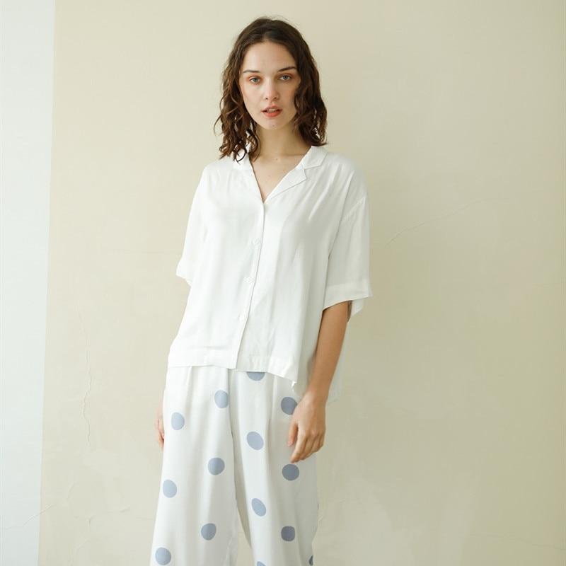 Summer Casual 100% Viscose Women's White Short Sleeve Pajama Sets Blue Dot Ankle-Length Pants Loose Comfortable Sleepwear Suits