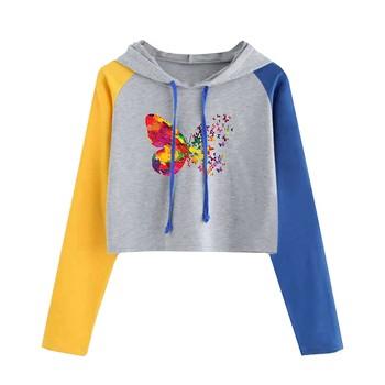 Women's Long Sleeve Hoodie Pullover Cute Butterfly Print Colorblock Sweatshirt Blouse Tops Womens Hoodies Ropa Otoño Mujer