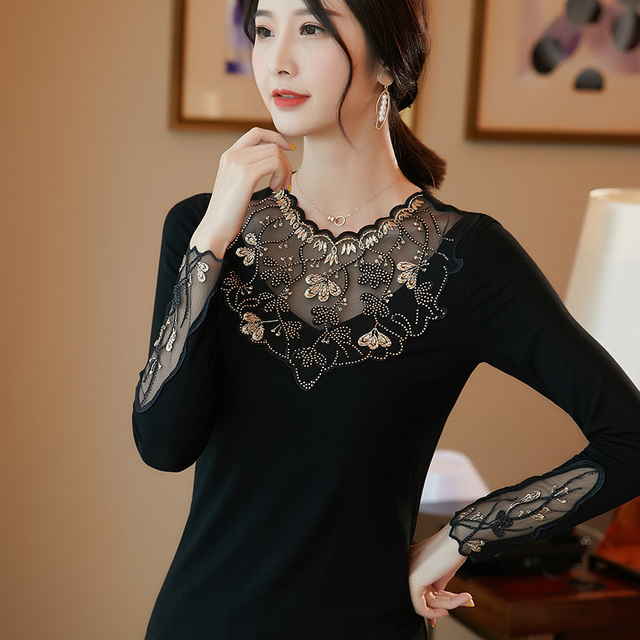 Women's shirt New 2019 Autumn long sleeve women blouse shirt Fashion Embroidery Mesh tops plus size hollow out lace tops 5