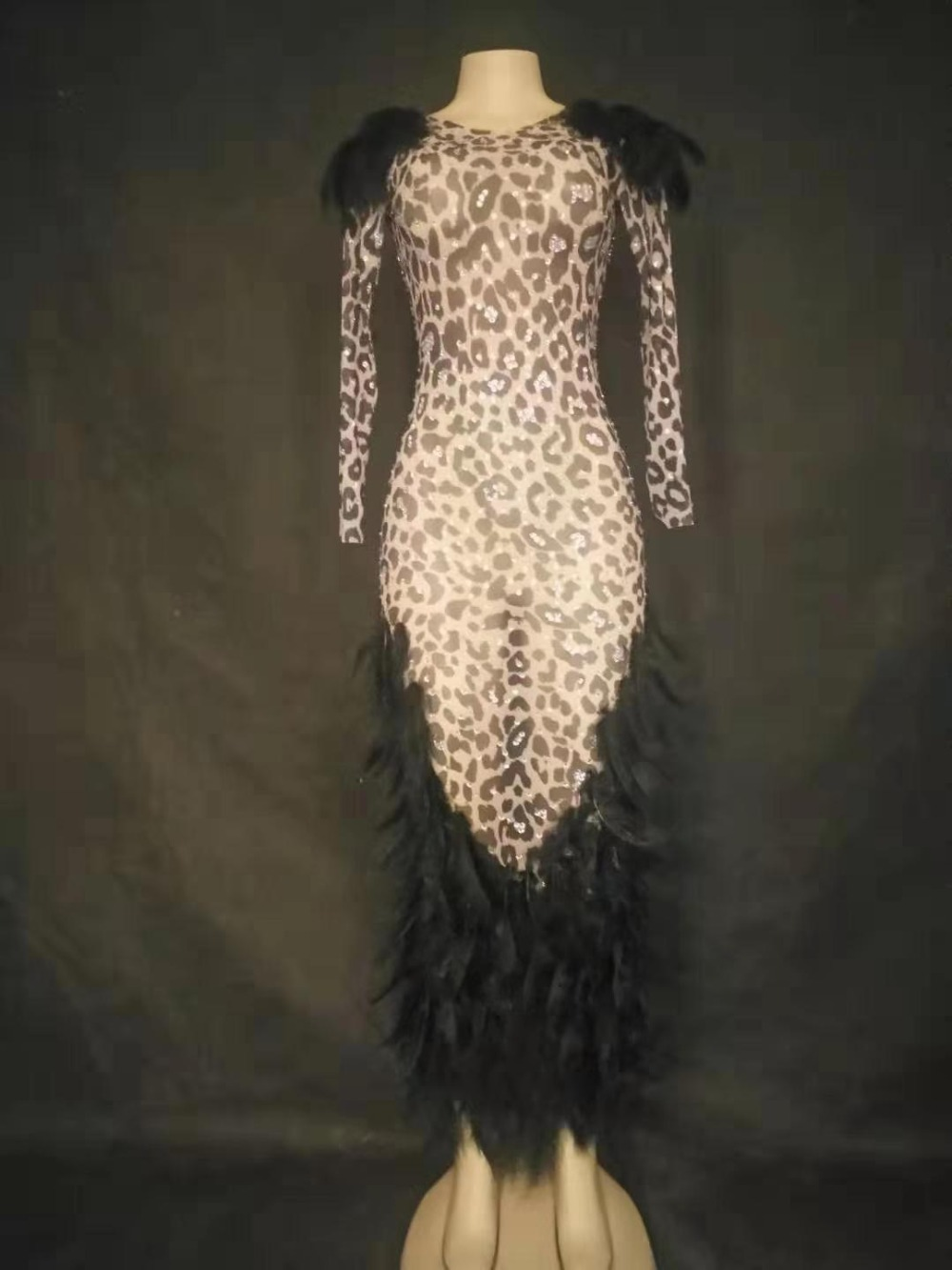 Black Feather Rhinestones Mesh Long Dress Prom Party Dress Birthday Celebrate Dress Female Singer Show Dresses YOUDU