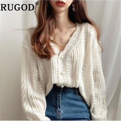 RUGOD винтажный белый полый женский свитер элегантный однобортный жемчужный кардиган с пуговицами, женский модный Топы оверсайз