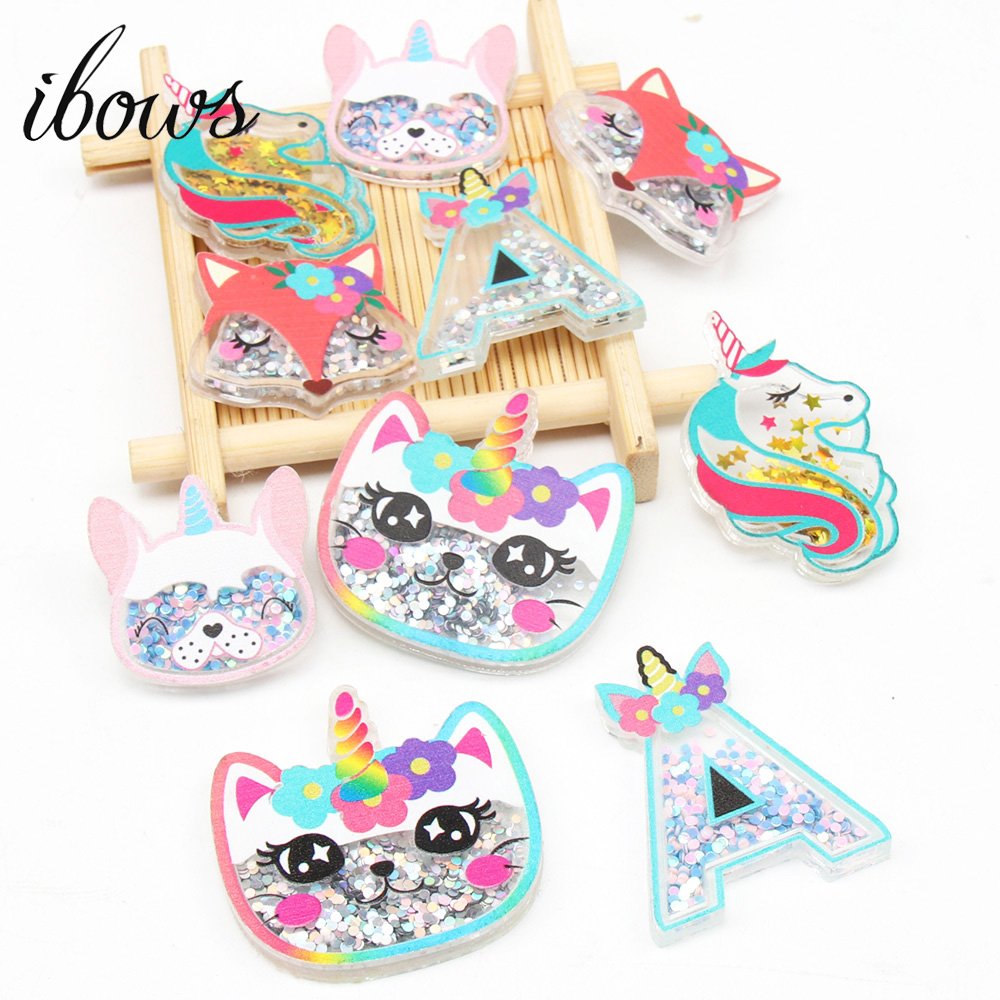 IBOWS 2pcs Acrylic Liquid Quicksand Pacthes Cute Sequin Unicorn for DIY Hair Bow Accessories Handmade Phone Case Decor Supplier