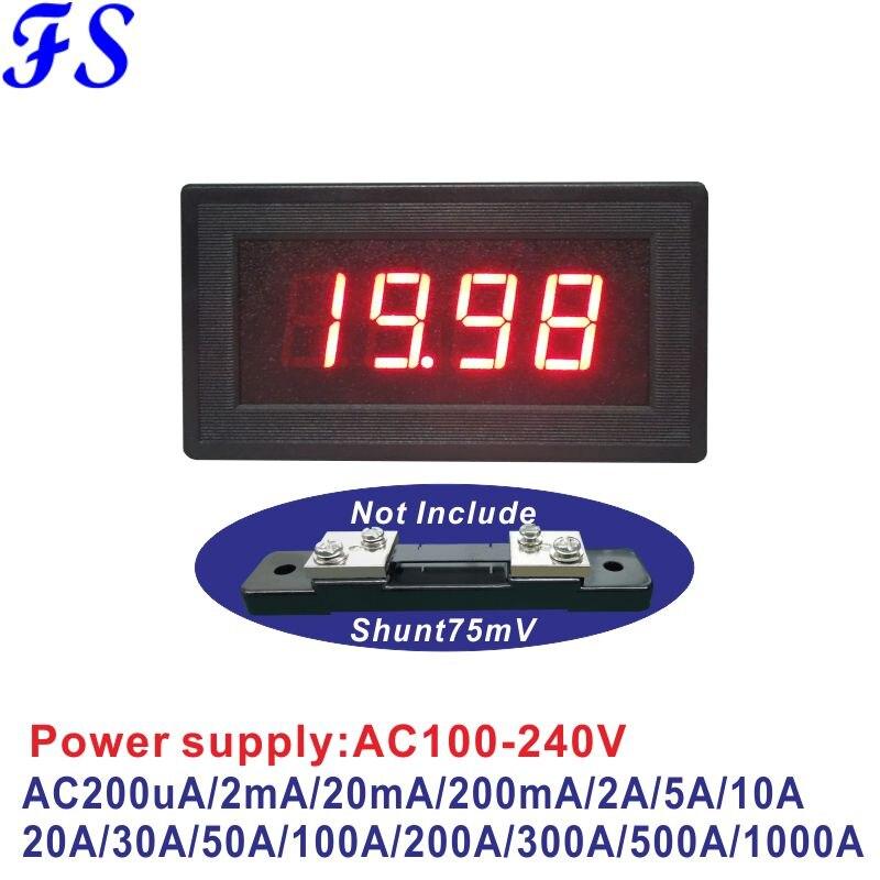 YB5135B амперметр переменного тока светодиодный цифровой прибор для измерения тока AC200uA 20mA 200mA 10A 20A 50A 100A 200A 500A 1000A 75mV Мощность AC100-240V 220V