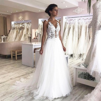2020 New Vintage Wedding Dresses O-Neck Appliques Lace Sleeveless Wedding Gowns A-Line Tulle Bridal Gown 2020 vestido de noiva short wedding dresses 2019 new design v neck cap sleeve backless tea length a line tulle lace bridal gowns vestido de noiva