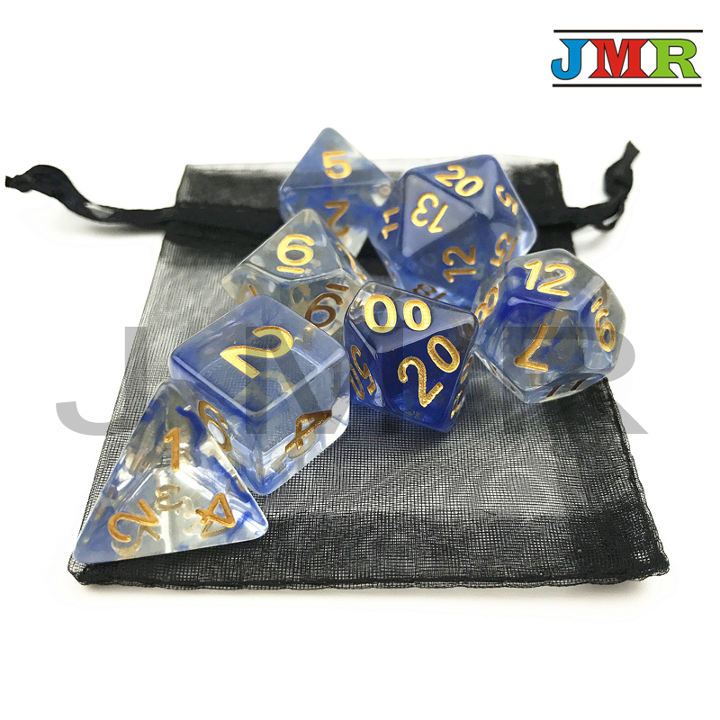Top Quality Blue Color Brand New Nebular Juegos Mesa Dados Dice Set Of D4 D6 D8 D10 D10% D20 For Dungeons And Dragons Board Game