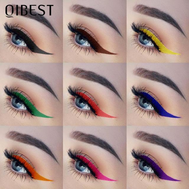 QIBEST-Juego de delineador de ojos colorido, 12 colores, resistente al agua, maquillaje de larga duración, delineador líquido de Ojos de gato, lápiz cosmético 4