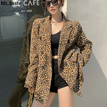 Blazer Coats Women Leopard Print Long Sleeve Biker Jacket Outerwear Jackets Mujer Vintage Female Fashion Casaco Feminine Tops women jackets winter coats long sleeve fashion lapel zipper patchwork jacket outerwear female short elegant ladies clothing tops