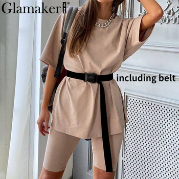 Glamaker Summer casual two piece set top and pants women sets short sleeve fashion loose outfits shorts suit 2020 female co ord 1