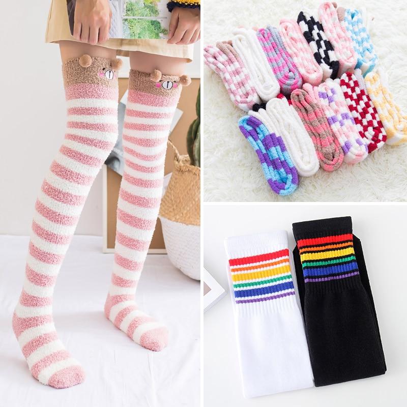 Fashion Striped Women Stocking Girls Student Thigh High Stockings Nylon Autumn Winter Warm Female Over Knee Casual Cotton Medias