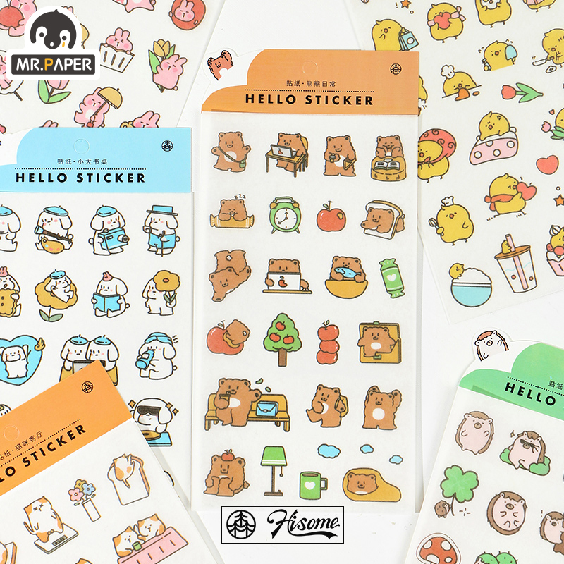 Mr.paper 1pcs/lot Adorable Animal Daily Life Hello Sticker Card Stickers Creative Bullet Journal Scrapbooking Deco Stickers