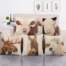 Cushion-Cover Pillow-Case Decorative Sofa Animal Cow-Design Linen/cotton Farm Seat 45cm--45cm