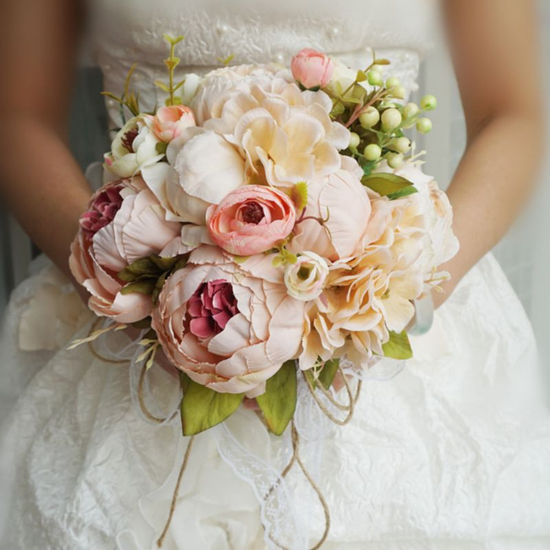 Retro Rustic Style Bride Bridesmaid Bouquets Artificial Peony Fake Rose Wedding Holding Flower Long Ribbon Lace Party Decoration