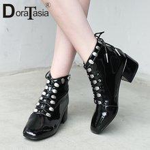Doratasia/Большие размеры 33 43 женские ботинки из лакированной