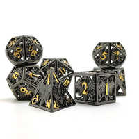 2020 New Style Hollow Dice 7pcs Multi-Sided Metal Zinc Alloy TRPG DND RPG MTG Table Games Dados Board Game Hot Sale Dice Set