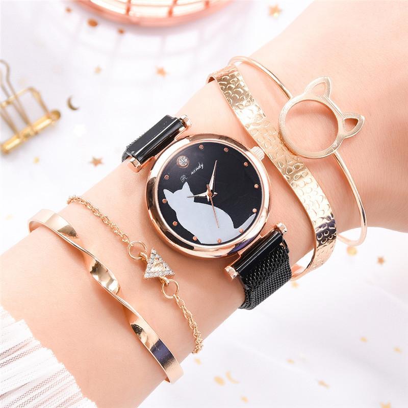 Women Watches Mesh Strap Fashion Female Quartz Wristwatches Diamond Surface Kitten Watch Drop Shipping Magnet Buckle Steel 10mm