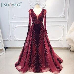 Image 2 - Robe de soirée en cristal bordeaux, manches longues, perles, fait à la main, robe de bal en velours, dubaï, modèle 2020