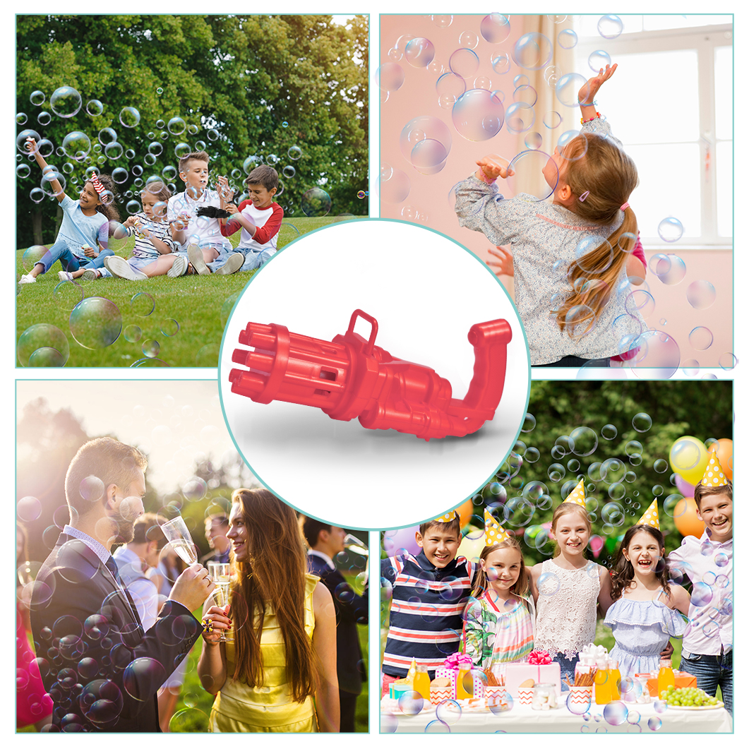 1-8 years old children's outdoor park toy gift automatic bubble blowing machine Kids Automatic Gatling Bubble Gun Toys Summ