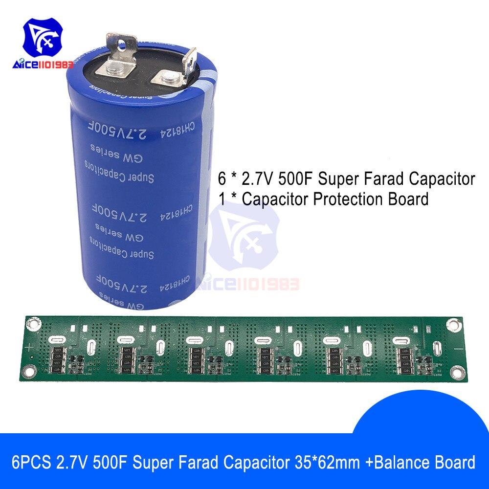 Solderless 6PCS 2.7V 500F 35*62mm Flat Feet Super Farad Capacitor Low ESR Super Capacitor w/Balancing Protection Board for Car|Capacitors| |  - title=
