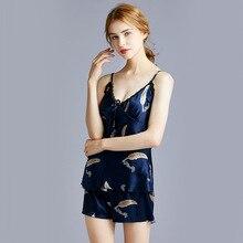 цена на Silk pajama ladies summer nightdress with shorts home dress sexy lace top  black sheer top  lace top  rhinestone top  plus size