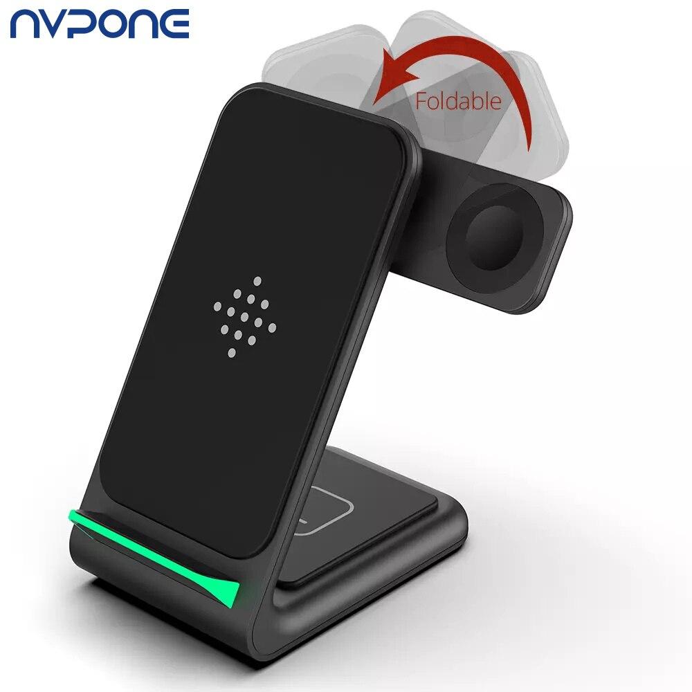 Беспроводное зарядное устройство для iPhone 12 Pro 11 Pro XS Max, складная док-станция 3 в 1, подставка для быстрой беспроводной зарядки для iWatch Airpods Pro