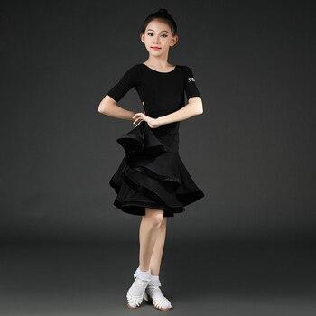 Summer Black Latin Dance Practice Dress Children'S Short-Sleeved Big Swing Skirt For Girls Ballroom Samba Practice Dress DWY3188