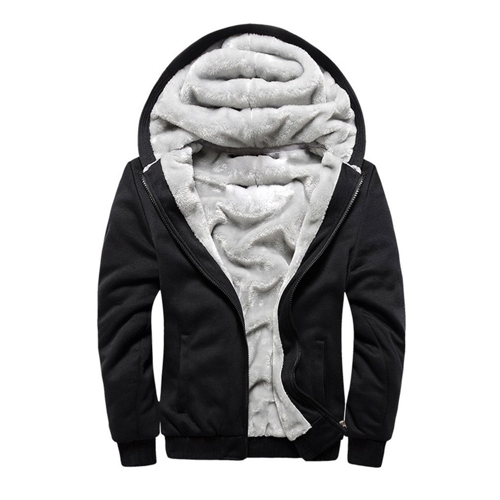 Fashion Winter Jacket Men Hoodie Male Coat Hooded 2018 Brand Casual Zipper Thicken Velvet Hoody Man Polyester Tracksuit Sale