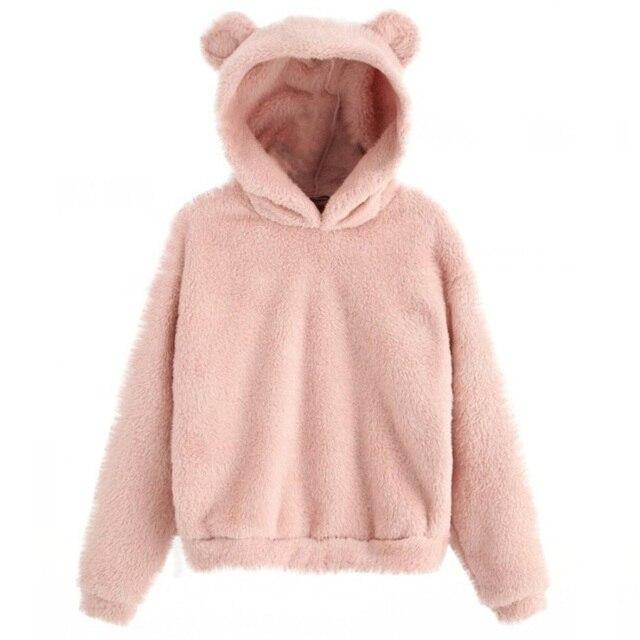 Lovely Fleece Animal Hoodies Women Sweatshirt Long Sleeve Warm Bear Ear Hooded Plush Hoody Pullover Lady Winter Tops 3