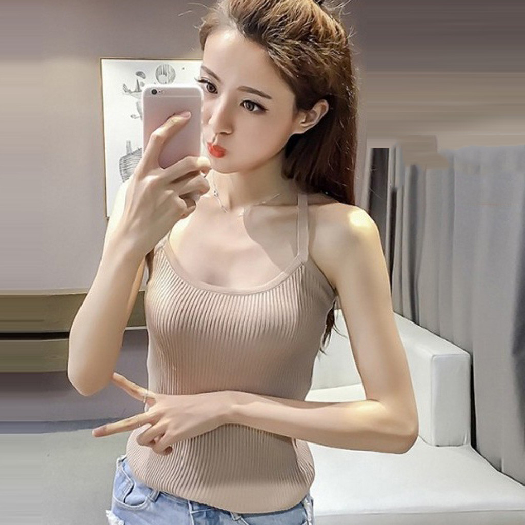 Women Summer Camis Tops Knitted Solid Sexy Tops Women 2020