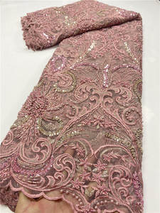 Lace-Fabric Handmade African Embroidery Beaded-Lace Sewing Nigerian French High-Quality