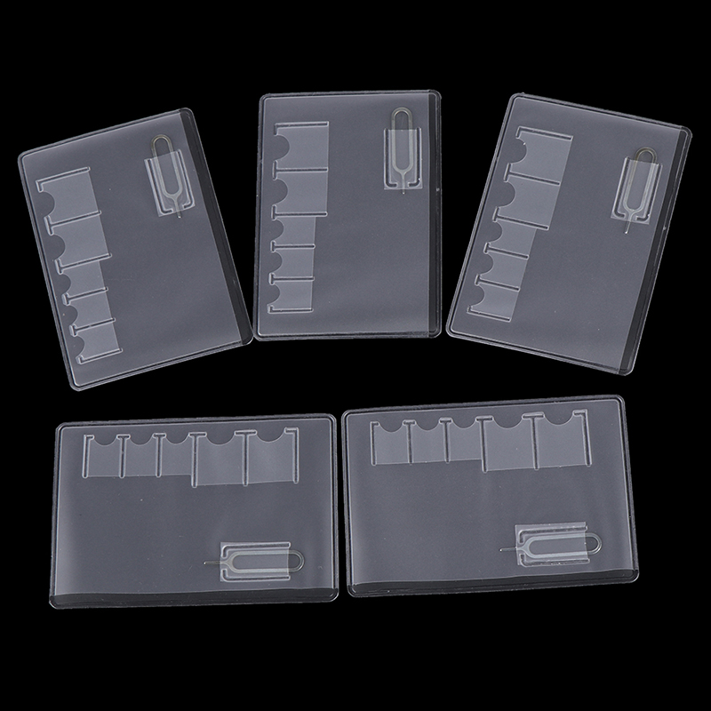 5 Pcs 6 Sim Card Storage Case Box Bag Easy Carry Clear Protector Portable For Sim Memory Card Transparency Universal