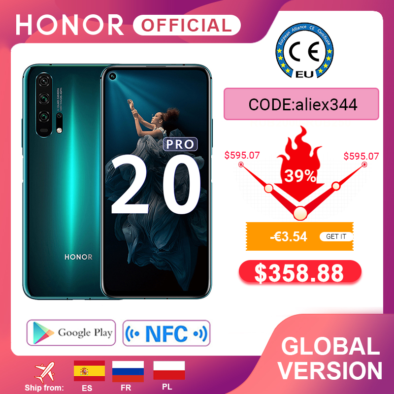 Global Version HONOR 20 Pro Google Play Smartphone 6.26''8GB 256GB Kirin 980 Octa Core 48MP Camera Mobile Phone Android NFC(China)