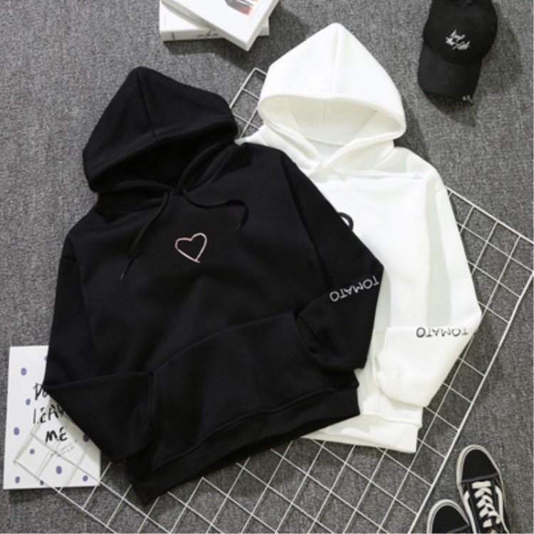 2018 Autumn And Winter Heart Embroidered Hooded Pullover Plus Velvet Hoodie Korean-style Men And Women Couple Clothes Students B