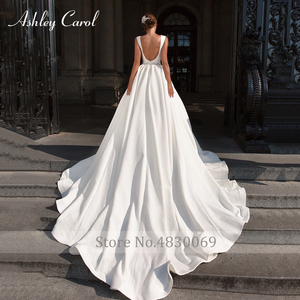 Image 3 - アシュリーキャロルサテン夜会服のウェディングドレス2020ビーズvネックノースリーブ背中高級王女の花嫁のガウンvestidoデnoiva