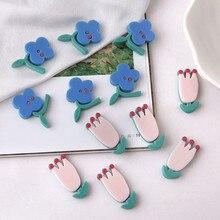 korean style illustration childlike cute small flower patch tulip handmade earrings for women girls diy jewelry accessories