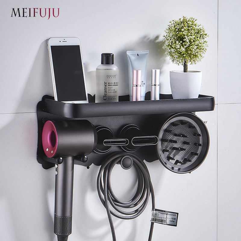 Black Hairdryer Holder Bathroom Shelves Wall Mount Storgae Rack Bathroom Shelf For Dyson Supersonic Hair Dryer Holder Silvery
