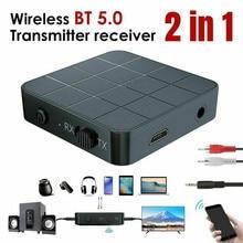 Bluetooth 5.0 4.2 odbiornik Audio nadajnik 2 w 1 3.5mm 3.5 AUX Jack RCA muzyka Stereo bezprzewodowy Adapter do TV PC głośniki samochodowe