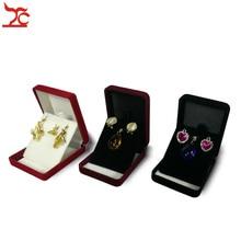 Caja de exhibición de joyería de terciopelo, caja de almacenamiento de pendientes de tuerca de 3 colores, organizador para colgante, contenedor de regalo, 20 unids/lote