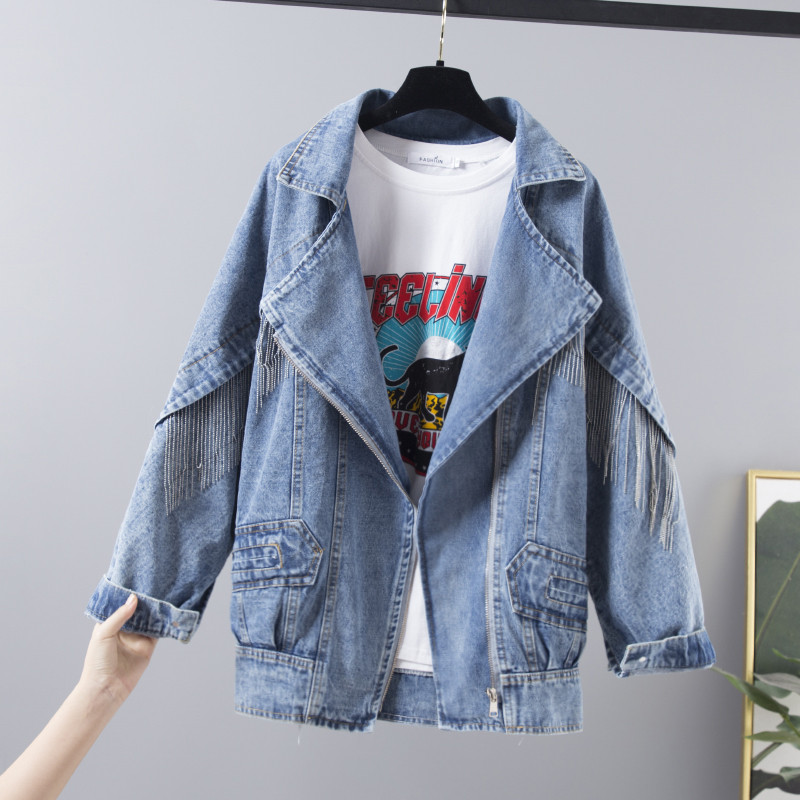Loose Harajuku Zipper Casual Jeans Jacket Ladies 2020 Spring New Vintage Tassel Denim Jacket Women Basic Outerwear Streetwear