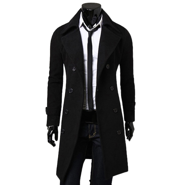 Fashion Coat Men Wool Coat Winter Warm Solid Long Trench Jacket Breasted Business Casual Overcoat Parka Man coat winter 2