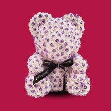 цена High Quality 35 Cm New Style Rose Bear with Heart Artificial Flower Roses Foam Roses Fake Flower Bear Rose Valentine's Day Gifts онлайн в 2017 году