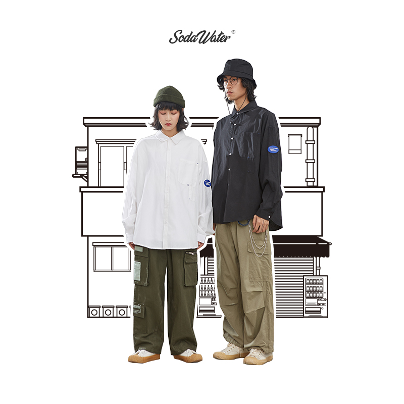 SODAWATER Men Vintage Shirt Japan Style Loose Solid Shirt Men Autumn Streetwear Casual Front Pocket Long Sleeve Men Tops  92134W