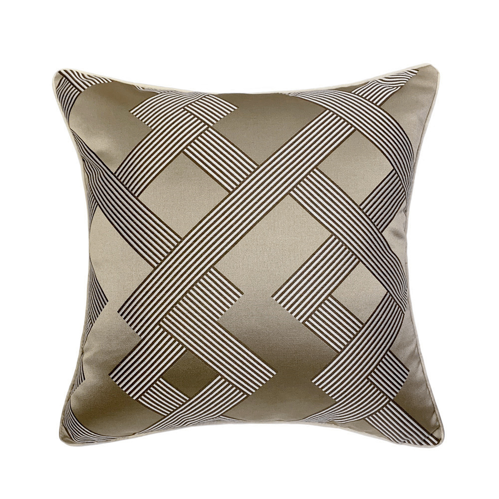 Modern Khaki Geometric Woven Jacquard Home Throw Customized Cushion Cover Decorative Square Custom Pillow Case 45 X 45 Cm