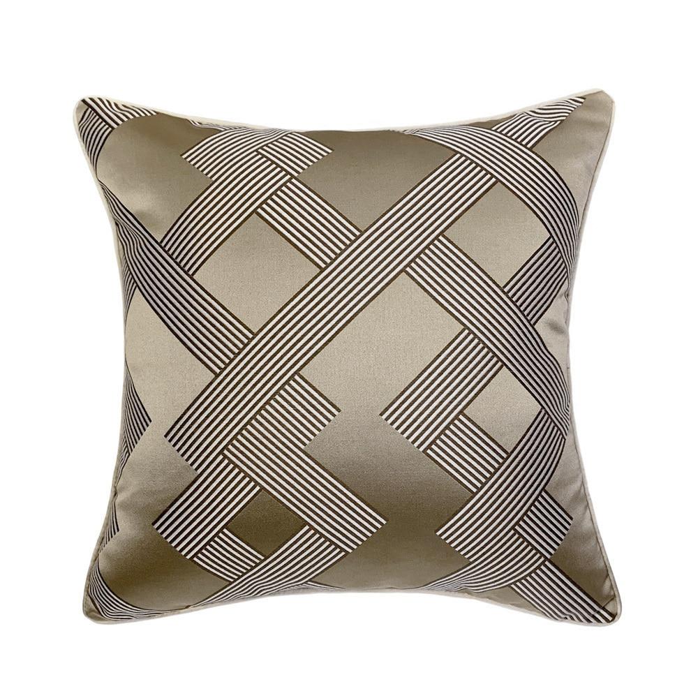 Modern Khaki Geometric Woven Jacquard Home Throw Customized Cushion Cover Decorative Square Custom Pillow Case 45 X 45 Cm