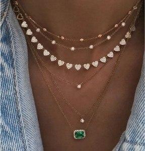 Image 1 - Hart ketting micro pave cz multi stuk heart charm link chain vriendin valentijnsdag gift mode sieraden