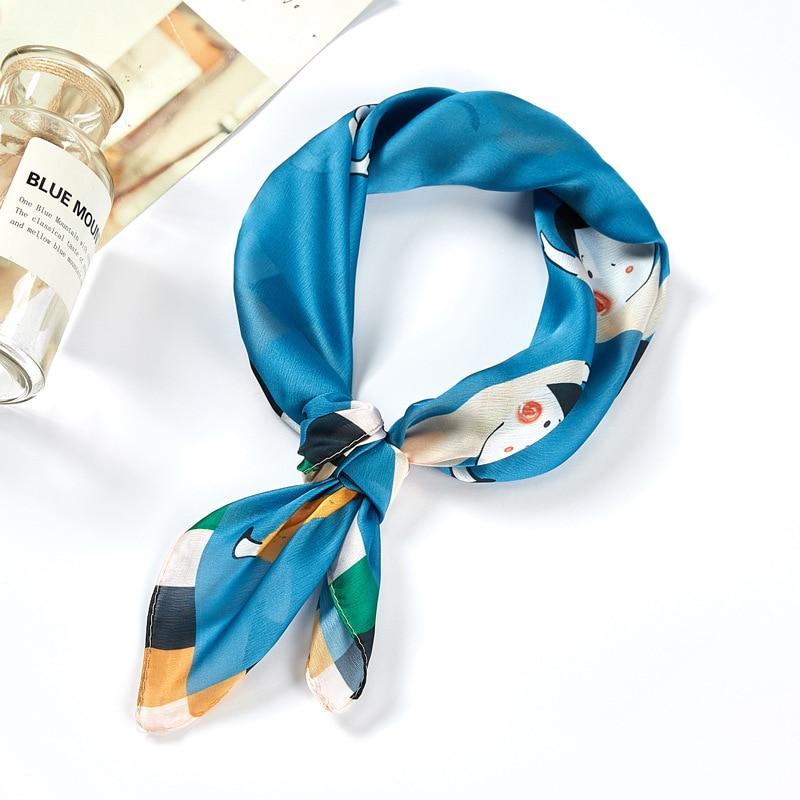 Cute Kerchief Women Bandana Head Scarf For Hair Fashion Print Silk Satin Scarfs Female 53*53cm Small Headband Scaves For Ladies