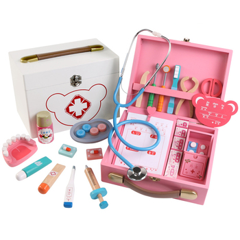 Kids Wooden Doctor Toy Set Simulation Family Doctor Nurse Wooden Medical Kit Pretend Play Hospital Accessorie Children Girl Toys