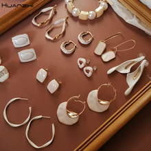 HUANZHI 2019 White Geometric Round Square Irregular Hollow Pearlescent Starry Sky Calla Lily Enamel Earrings for Women Girls