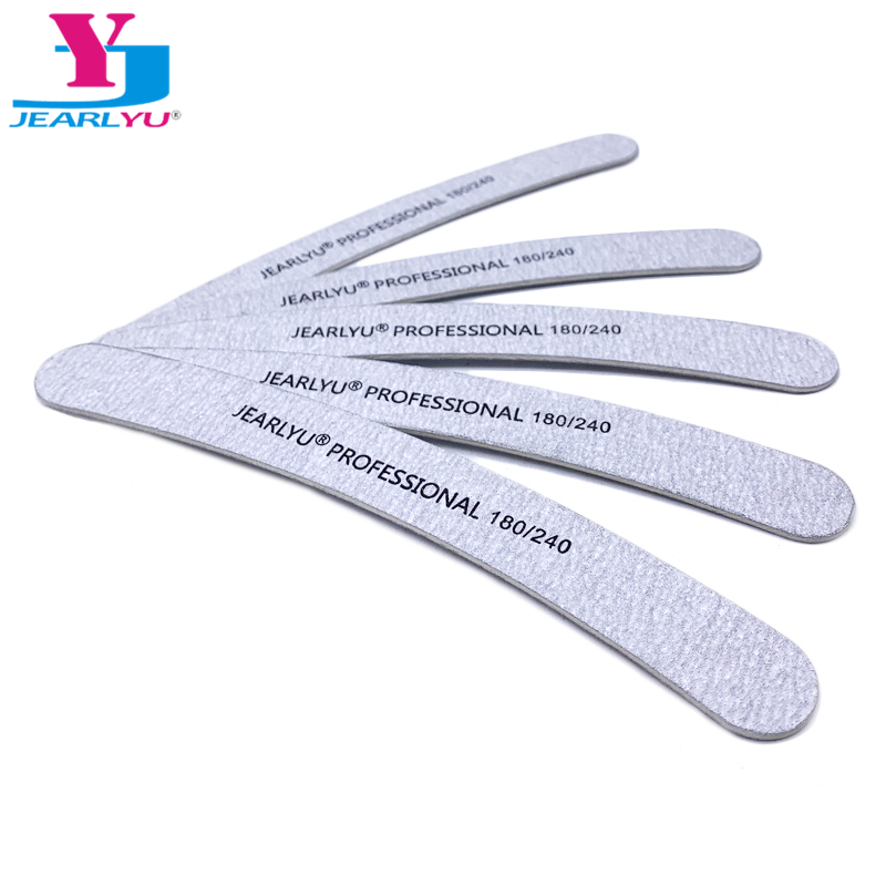 Wooden 10Pcs/lot Nail File 180/240 Curve Professional Grey Sanding Strong Thick Kit Ongle En Gel Manicure Care Ferramentas Shine